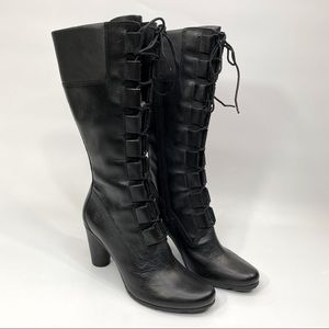 Timberland Lace-up Mid Calf Black Boot Heel